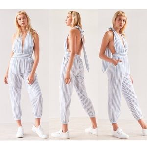 FAITHFULL THE BRAND stripe Barbuda halter jumpsuit